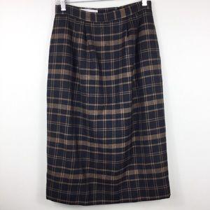 Vintage Carlisle midi wool black plaid skirt